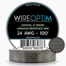 24 Gauge AWG Kanthal A1 Wire 100' Length - KA1 Wire 24g GA 0.51 mm 100 ft