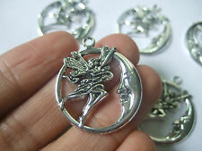 10 x Tibetan Silver Tone Round Moon Fairy Angel Charms Pendants Beads Findings