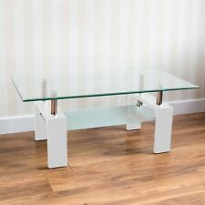 Elise Rectangular Coffee Table White Clear Rectangle Glass by Home Discount