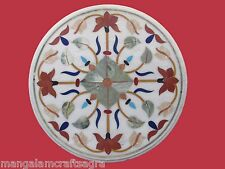 "23"" Coffee Table Top Semi Precious Gemstones Marble  Marquetry Inlay home decor"