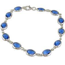 """Bezel Set 7"""" Bracelet Oval 8x6mm Swiss Blue Sterling Silver w/Anti Tarnish"""