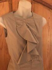MARNI Tan Cotton/Polyamide Sleeveless Top Ruffle Front Back Zipper EU 38