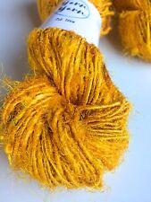Sari silk yarn, eco yarn, handspun silk, Kalka yellow, 10 yards. Knit, fibre art