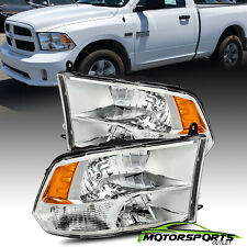 Fit 2009-2018 Dodge Ram 1500/2500/3500 Chrome Quad Headlights HeadLamps Pair