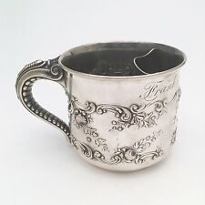 Ca. 1898 Gorham Sterling Silver Shaving Mug/Cup, Elephant Trunk Handle, Repousse