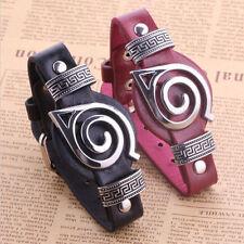 Anime Naruto Wristband Leaf  Village Badge PU Charm Bracelet Cosplay Watch Style
