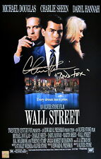 """Charlie Sheen """"Bud Fox"""" Autographed Wall Street 11x17 Movie Poster ASI Proof"""