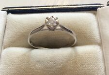 Beautiful Ladies Hallmarked Vintage 9ct White Gold .10 Diamond Solitaire Ring P