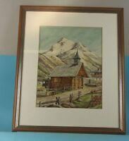 älteres Bild - Zeichnung - P. Lubitz signiert - Bergkapelle mit Weg    /S96