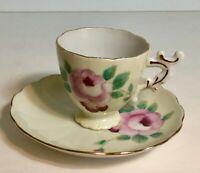 Vintage Demitasse Roses Tea Cup and Saucer Set Shafford Made in Japan