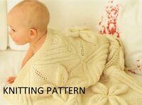 (743) Baby Blanket Copy Knitting Pattern, Lovely Leaf Design in DK or Aran yarns
