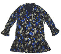 Maggy London Womens Shift Dress Blue Black Floral Neck Tie Ruffle Size 8 $148