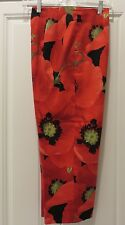 SHARON ENDICK KATE WOMEN'S RED LEAF AND FLOWERS  PANTS FLAT FRONT SIZE 10