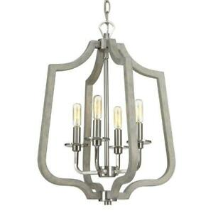 Progress Lighting Glenora 4-Light Brushed Nickel Pendant with Gray Wood Accents