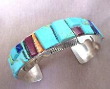Navajo Multi-Stone Chunk Inlay & Sterling Cuff Bracelet  Steve Francisco JB0031