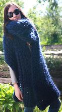 5 strands Premium Mohair EXTRA LONG SCARF hand knit dark blue  Men Women
