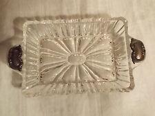 Edle GLASSCHALE Kristall mit 835er Silber Griffen Anbietschale Schale