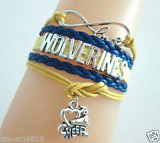 Infinity Love WOLVERINES Cheer Horn Charms Suede Leather Braided Bracelet
