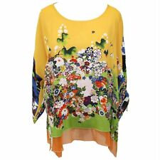 NEW NWT Citron Clothing Plus Size Cold Shoulder 100% Silk Faux Layered Blouse 2X
