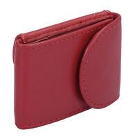 Kleine Mini Geldbörse LEAS in Echt-Leder halbes Scheinfach, Portemonnaie rot