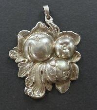 Vtg Vermeil 925 Silver Fruit Repousse 3D Pendant Antique Nouveau Kollmar Jourdan