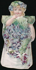 ENAMELINE STOVE POLISH Vtg Victorian Trade Card Violet Flower Girl Doll Prescott