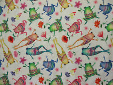 Frogs Decorative Flowers Frog Bright Colors White Cotton Fabric Fq