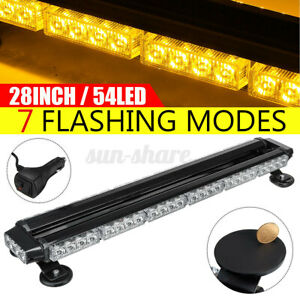 28'' 54LED Car Truck Roof Emergency Warning Strobe Light Bar Beacon Lamp Amber