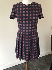 OPENING CEREMONY Rose-print mini dress in navy blue and red. U6/UK 10