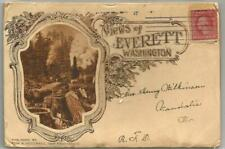 Everett, WA Washington 1913 Postcard Folder, 22 Views, Depot, Street Scene, More