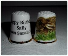 BN Personalised Fine Bone China Baby Hare Thimble  with Plastic Display Case
