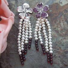 Cz Pave Flower Garnet  White Round Pearl Round  Stud Earrings