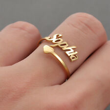 Amaxer Personalized Custom Heart Name Ring Simple DIY Female Stainless Jewelry