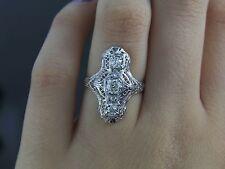 Antiguo Vintage 18ct Oro Blanco MINEROS Diamante Art Déco Anillo Cinta 6.5