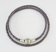 "PANDORA 7-3/4"" SILVER CLASP ""PURPLE, DOUBLE LEATHER"" BRACELET #590705CPE-D 5.9 G"