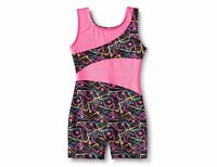 Freestyle® by Danskin® Girls' Dance, Gymnastic Biketard - Black/Pink Medium 7/8