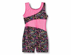 Freestyle® by Danskin® Girls'  Gymnastic/Dance Biketard-Black/Pink Medium 7/8