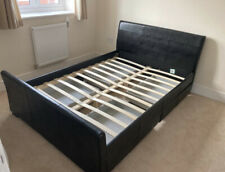 Leather Style Double Bed. Dark Brown With 4 Storage Drawers Underneath. Perfect!