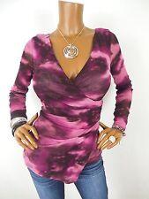 INC Womens Top M SEXY Shirt Low Cut Tie Dye Blouse Purple Pink Sheer Long Sleeve