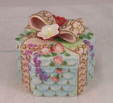 Fitz & Floyd Essentials covered trinket box with bow and flowers