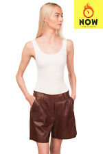 RRP €1245 BRUNELLO CUCINELLI Leather Pleated Shorts Size 42 / M Made in Italy