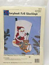 Hobby Kraft Felt Stocking Santa Skiing Teddy Bear Storybook 18 inch Sealed Kit