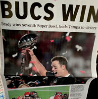 BUCS WIN TOM BRADY RAYMOND JAMES  SUPER BOWL TAMPA BAY BUCCANEERS GULF NEWSPAPER