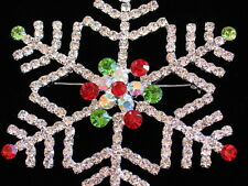 LARGE PRONG SILVER AB RED GREEN CHRISTMAS WINTER SNOWFLAKE PIN BROOCH JEWELRY 4""
