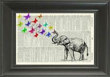 ORIGINAL - Elephant & Butterflies Art Print on Vintage Dictionary Page 510D