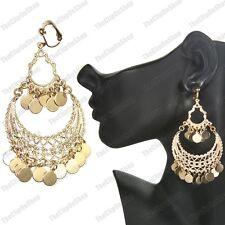 Clip On 3 75 Long Chandelier Gypsy Discs Earrings Gold Fashion Boho Clips