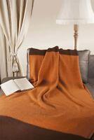 "Natural Style 100% Merino Wool 45"" x 65"" Throw Blanket [Orange-Brown]"