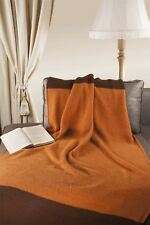 "Natural Style 100% Merino Wool 45"" x 65"" Throw Blanket [Orange-Brown]"