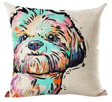 SHIH TZU / LHASA APSO Cushion Cover! Watercolour Dog Art Linen Pillow 45cm Gift