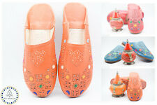 Babouche Embroidered Women Shoe Sheepskin Mules Leather Berber Marrakesh Morocco